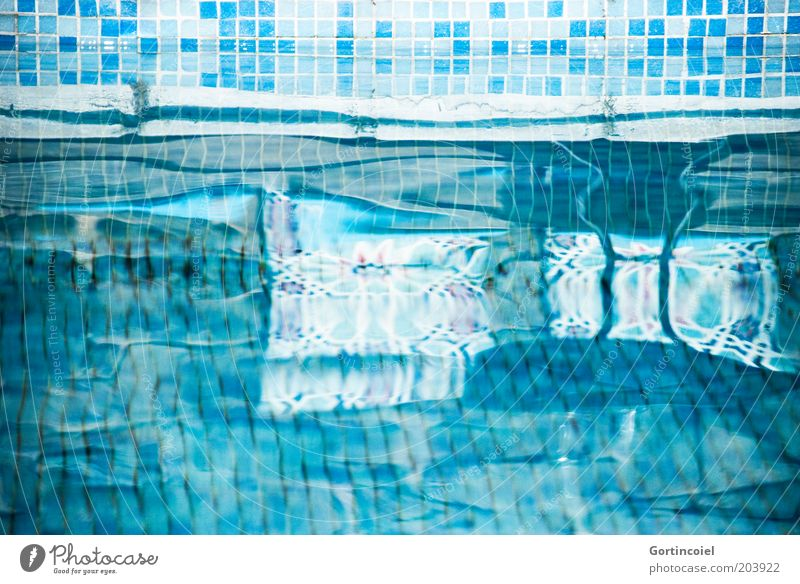 solvent Lifestyle Vacation & Travel Summer Summer vacation Cold Refreshment Swimming pool Mosaic Tile Turquoise Azure blue Mirror image Surface of water Water
