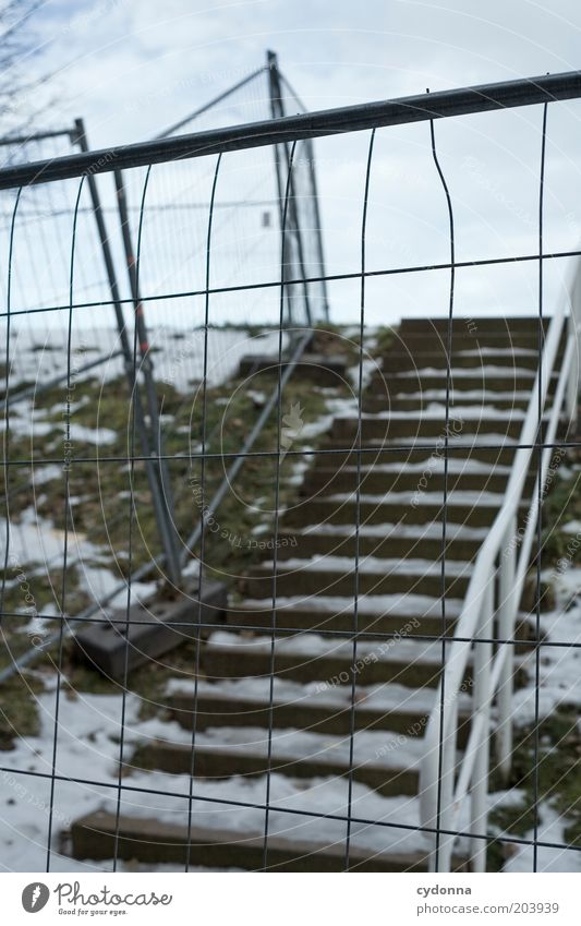 On the other hand. Winter Ice Frost Snow Stairs Loneliness Calm Stagnating Lanes & trails Time Protective Grating Fence Side Banister Cold Gloomy Bans Unused