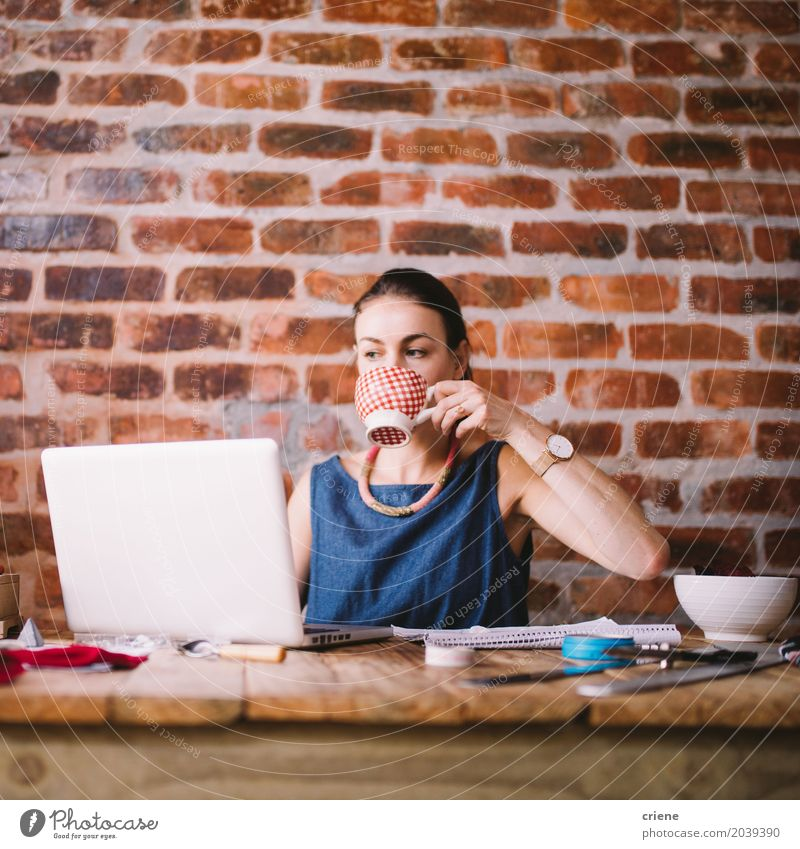 Young caucasian businesswoman working from home Human being Woman Youth (Young adults) Young woman 18 - 30 years Adults Lifestyle Feminine Business Work and employment Office Modern Technology Coffee Drinking Driving