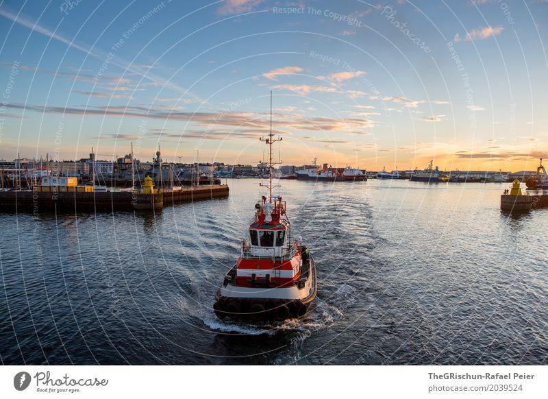Blue Town White Clouds Black Moody Orange Pink Gold Vantage point Harbour Capital city Navigation Iceland Port City Reykjavík