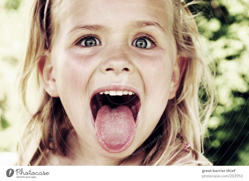 Mad little girl Child Toddler Girl Infancy Head 3 - 8 years Uniqueness Tongue Crazy Spontaneous Brash Funny Provocative Cute Colour photo Exterior shot Close-up