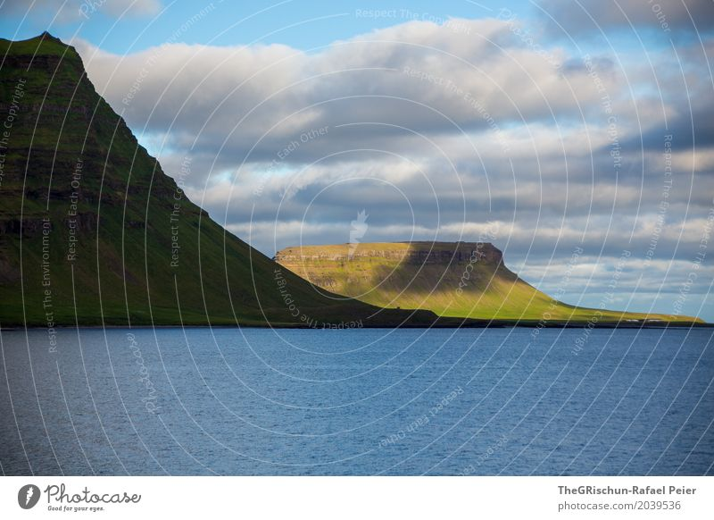 Iceland - Mountain Environment Nature Landscape Blue Green Black White Kirkjufell Sun Visual spectacle Clouds Moody Water Cliff Ocean Shadow Colour photo