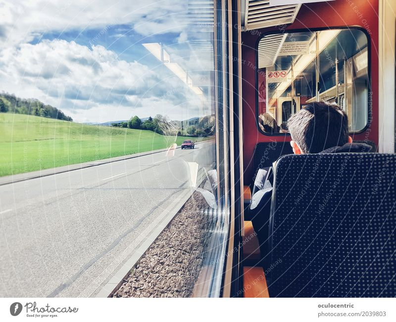 Destination Idylle Train travel Tram Retro Blue Red Optimism Serene Esthetic Peace Seat Window Summer Spring Sunbeam Street Vacation & Travel Mirror image