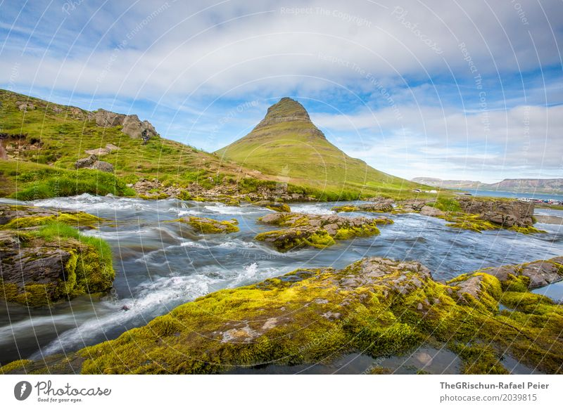 Kirkjufell Environment Nature Landscape Blue Brown Yellow Green Turquoise White Mountain Iceland Water Brook Sky Clouds Landmark Moss Stone Travel photography
