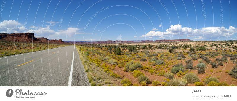 highway Traffic infrastructure Street Line Vacation & Travel Infinity Hot Dry Warmth Blue Gray Green Longing Freedom USA Highway Arizona Utah Americas