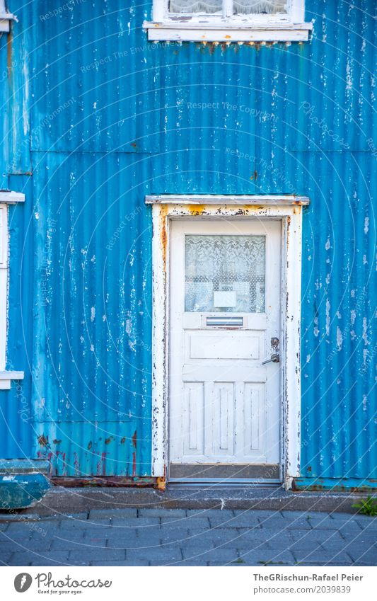 door Village Blue White Door Window House (Residential Structure) Manmade structures Iceland Colour Corrugated sheet iron Rust Lock Drape Paving stone