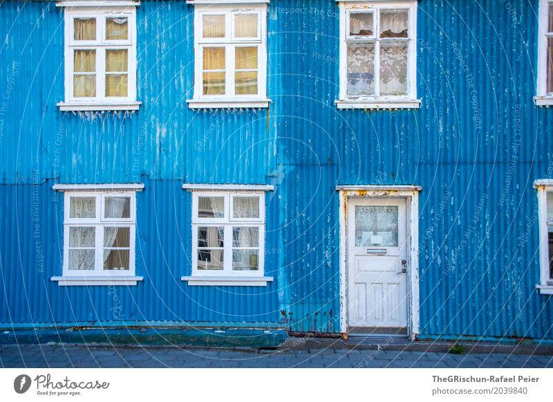 i'm blue da ba dee da ba di Hut Blue White House (Residential Structure) Iceland Corrugated sheet iron Door Rust Progress Old Beautiful Window Drape Gloomy