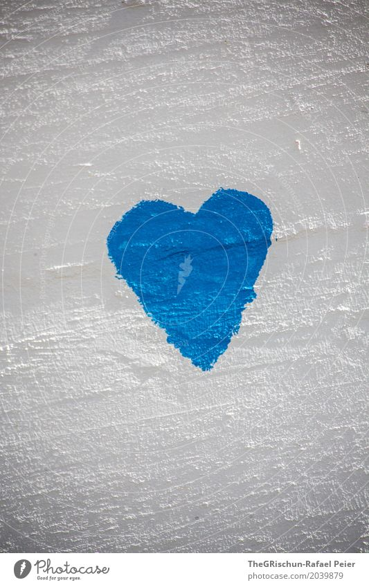love Art Painter Blue White Heart Love Painting (action, artwork) Structures and shapes Wall (building) Colour photo Exterior shot Deserted Copy Space top