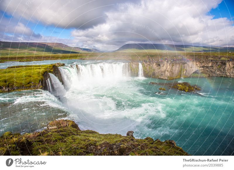 waterfall Environment Nature Landscape Water Drops of water Sky Clouds Blue Brown Gold Green Black White Iceland Waterfall Godafoss Turquoise Tourism