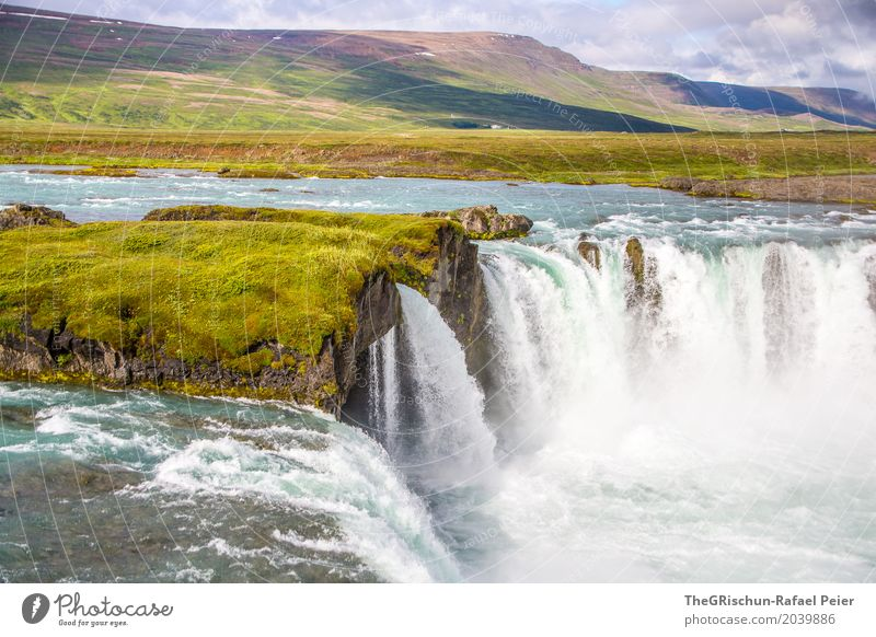 Godafoss Environment Nature Landscape Blue Green White Waterfall Torrents of water Iceland Travel photography Attraction Tourism River Impressive Colour photo