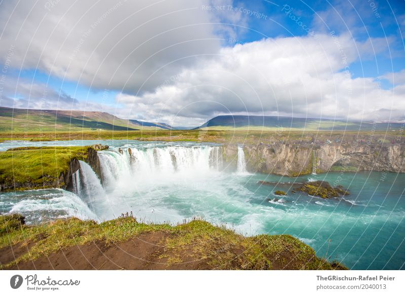 Godafoss III Environment Nature Landscape Beautiful weather Blue Brown Green Turquoise White Waterfall Iceland Rock Cliff Landmark Attraction Tourism Clouds