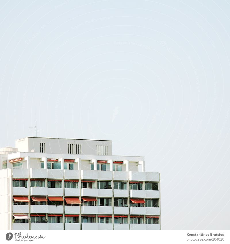 20:30 then on the roof terrace Cloudless sky Outskirts House (Residential Structure) High-rise Building Balcony Terrace Window Antenna Sun blind Large Bright