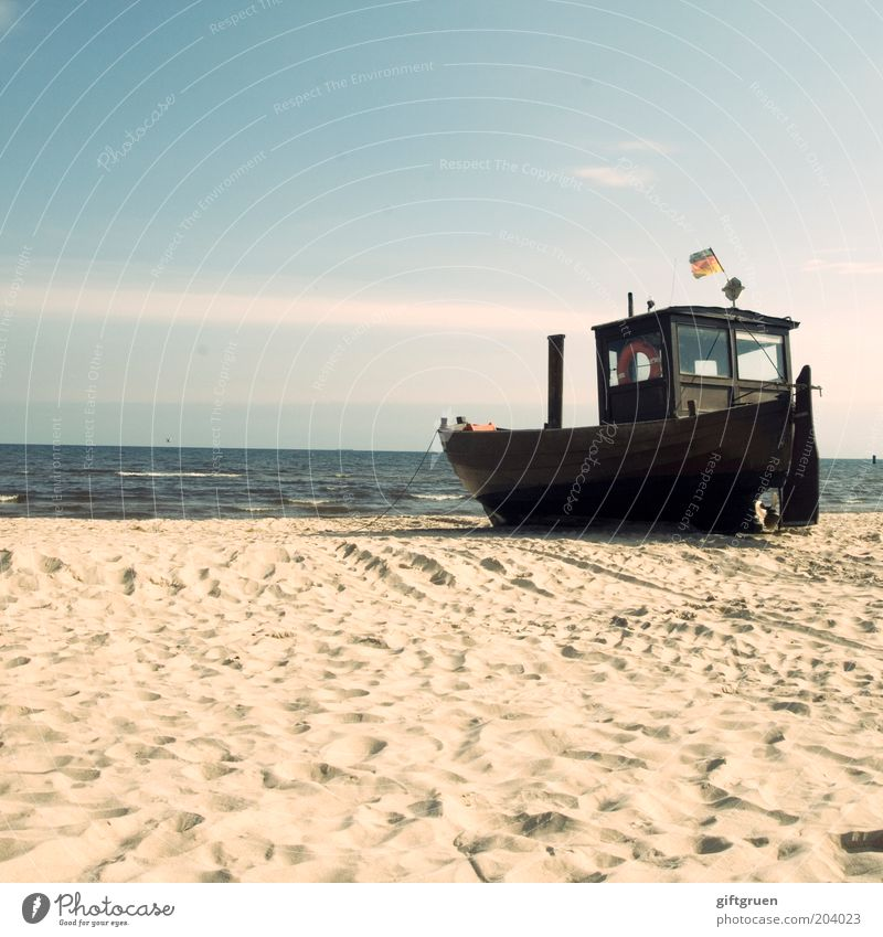 Sky Beach Far-off places Sand Watercraft Coast Germany Horizon German Flag Navigation Baltic Sea Beautiful weather Fishery Maritime Ocean Fishing boat