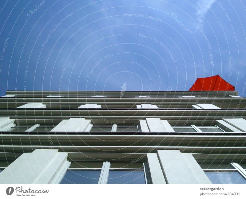 Blue Red Summer House (Residential Structure) Window Above Architecture Building Facade Perspective Under Historic Sunshade Beautiful weather Upward