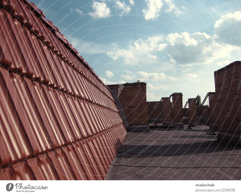 deserted Sky Weather Beautiful weather House (Residential Structure) Roof Chimney Stagnating Brick Roofing tile Colour photo Multicoloured Exterior shot
