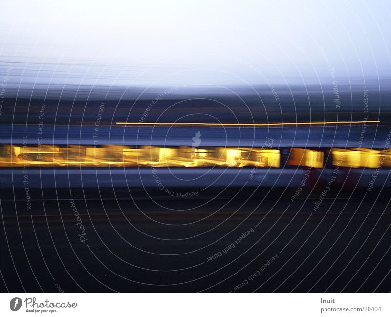 Fast Railway Railroad Long exposure Train compartment Transport Evening Vacation & Travel Movement