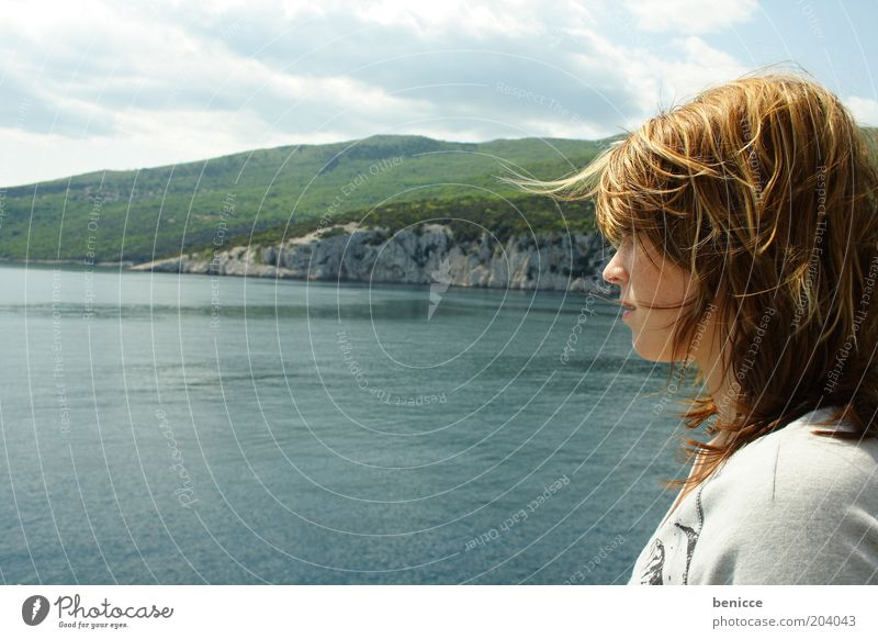 vieW Woman Human being Youth (Young adults) Vantage point Ocean Vacation & Travel Water Looking Loneliness Perspective Wind Panorama (View) Beach Trip Profile