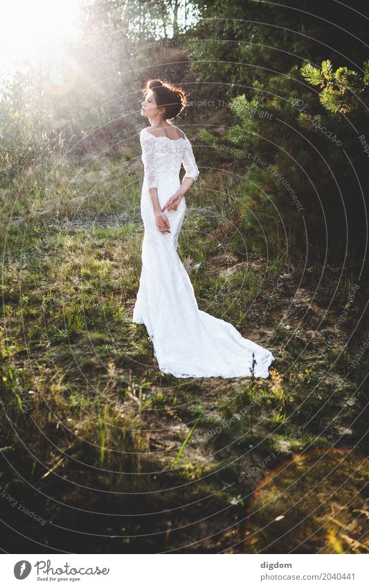 Bride in long dress Human being Woman Nature Youth (Young adults) Young woman Beautiful Joy Forest 18 - 30 years Adults Life Lifestyle Emotions Feminine Garden