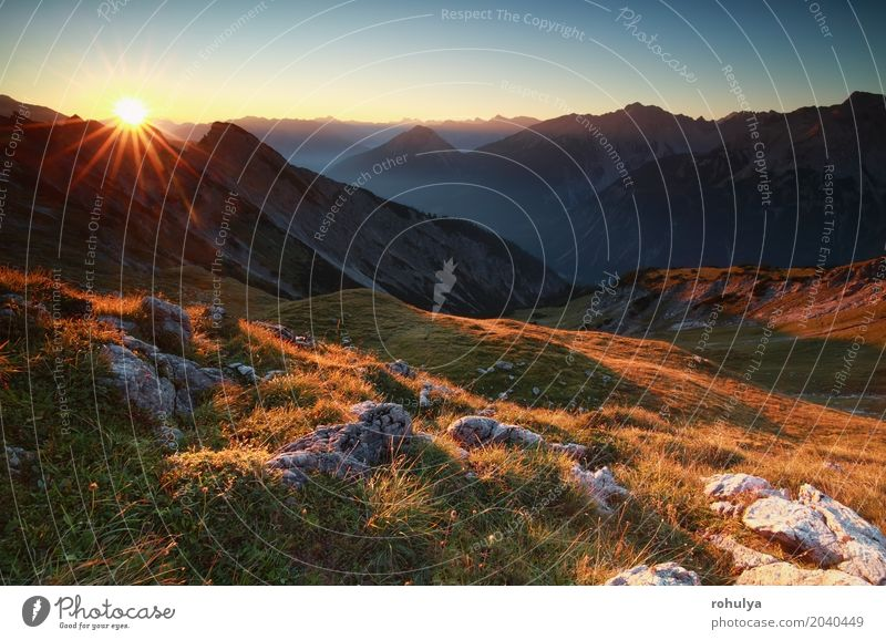 golden sunrise in high mountains, Austria Vacation & Travel Sun Mountain Nature Landscape Sky Sunrise Sunset Fog Meadow Hill Rock Alps Stone Wild Blue star