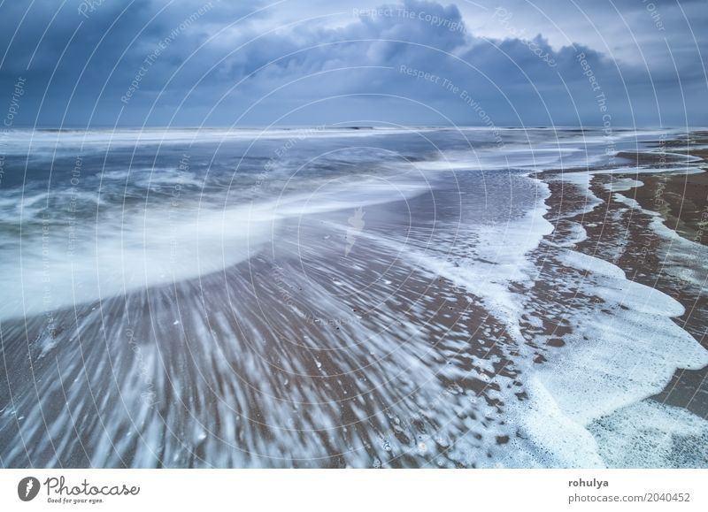 stormy morning on North sea coast Beach Ocean Nature Landscape Sand Sky Clouds Horizon Summer Storm Waves Coast North Sea Movement Blue wave water seascape blur