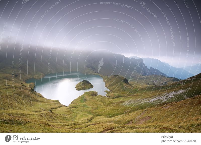 clouds over alpine lake Schrecksee in mountains Sky Nature Vacation & Travel Summer Landscape Clouds Mountain Meadow Germany Lake Rock Wild Weather Fog