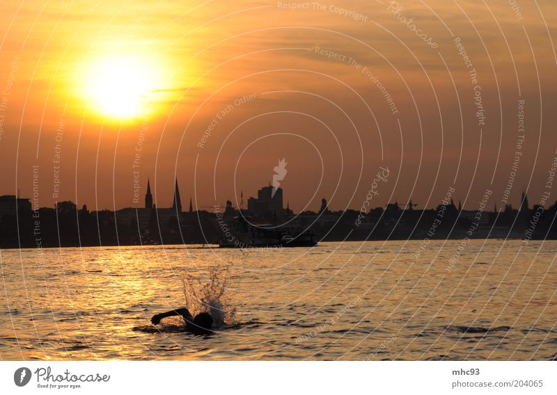 Summer in the City III Swimming & Bathing Vacation & Travel Sunbathing Beach Closing time Nature Landscape Water Sky Cloudless sky Sunrise Sunset