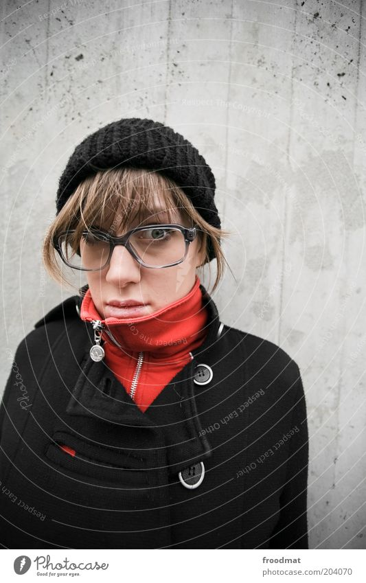 nerdyful Human being Feminine Young woman Youth (Young adults) Woman Adults Fashion Coat Eyeglasses Cap Brunette Looking Beautiful Cold Natural Nerdy
