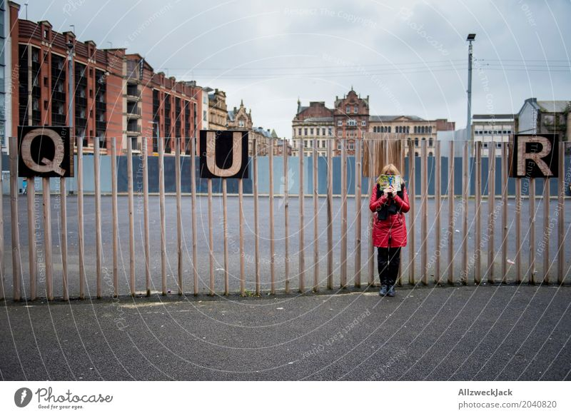 QU'R Letters (alphabet) Capital letter Across queer Word Typography Hide Woman Reading Book Unidentified Glasgow Scotland Downtown Fence Hoarding Town