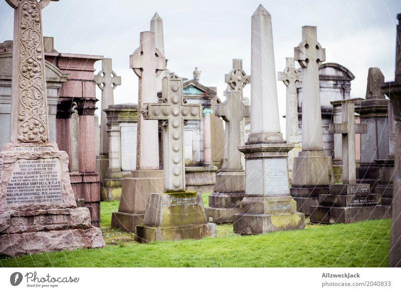 gravestones Grave Tombstone Obelisk Crucifix Christian cross Monument Cemetery Remember Glasgow Nekropolis City Scotland Grief Peace Calm Transience Death