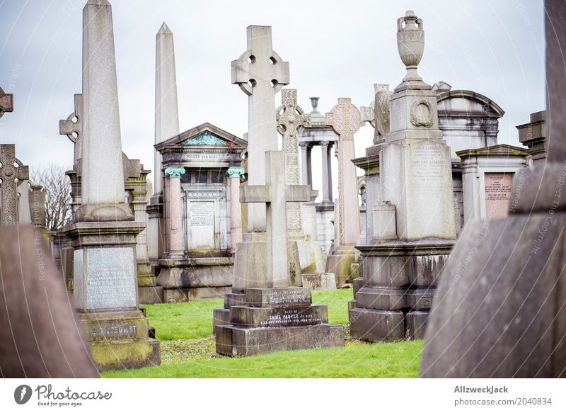 graves 2 Grave Tombstone Obelisk Crucifix Christian cross Monument Cemetery Remember Glasgow Nekropolis City Scotland Grief Peace Calm Transience Death