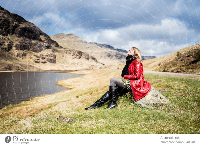 Human being Woman Nature Vacation & Travel Youth (Young adults) Young woman Landscape Relaxation Calm 18 - 30 years Mountain Adults Life Spring Feminine Grass