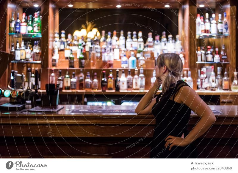 Girl on a Bar Lifestyle Alcoholic drinks Leisure and hobbies Interior design Night life Cocktail bar Going out Flirt Drinking Feminine Young woman