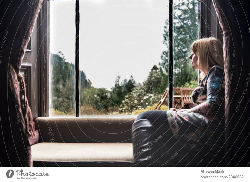 Woman at the window with view 2 Relaxation Calm Vacation & Travel Trip Far-off places Feminine Young woman Youth (Young adults) Adults Life 1 Human being