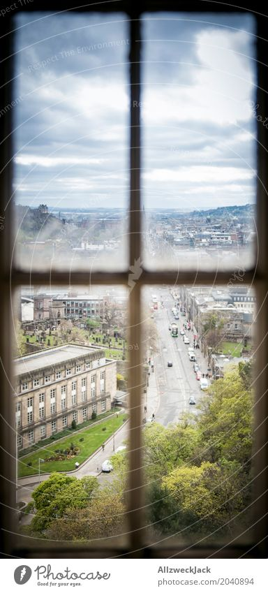 through the window Edinburgh Scotland Town Downtown Old town Window Road traffic Dark Blue Green Vantage point View from a window Storm clouds Vacation & Travel