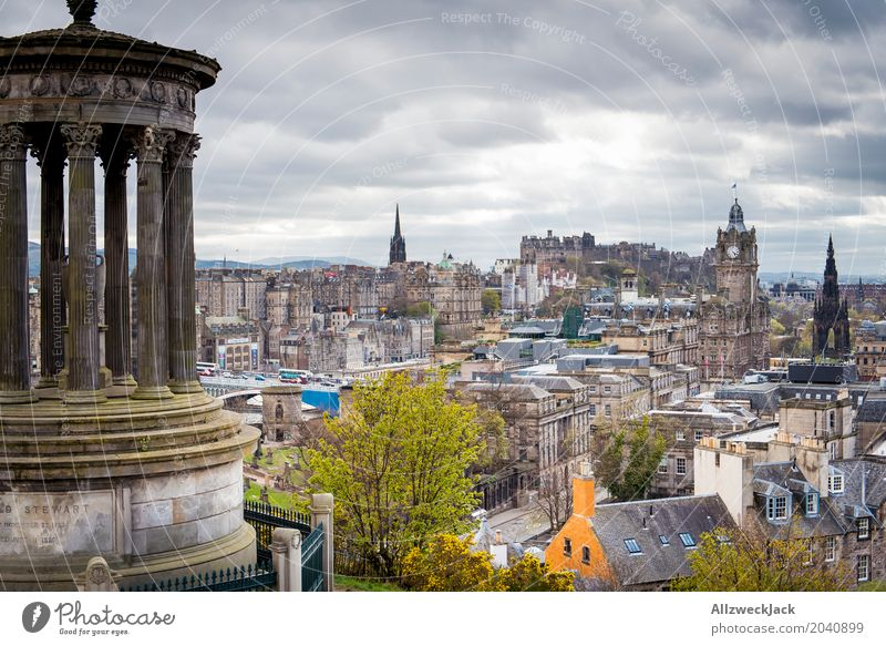 Edinburgh Panorama Clouds Storm clouds Bad weather Edinburgh Castle Scotland Town Downtown Old town House (Residential Structure) Church Tourist Attraction