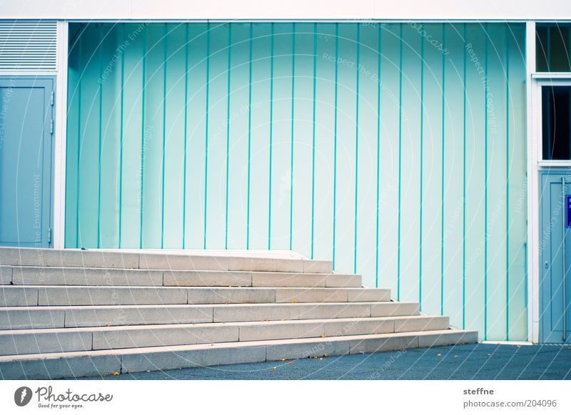 stage Wall (barrier) Wall (building) Stairs Facade Door Modern Design Colour photo Exterior shot Experimental Abstract Pattern Structures and shapes