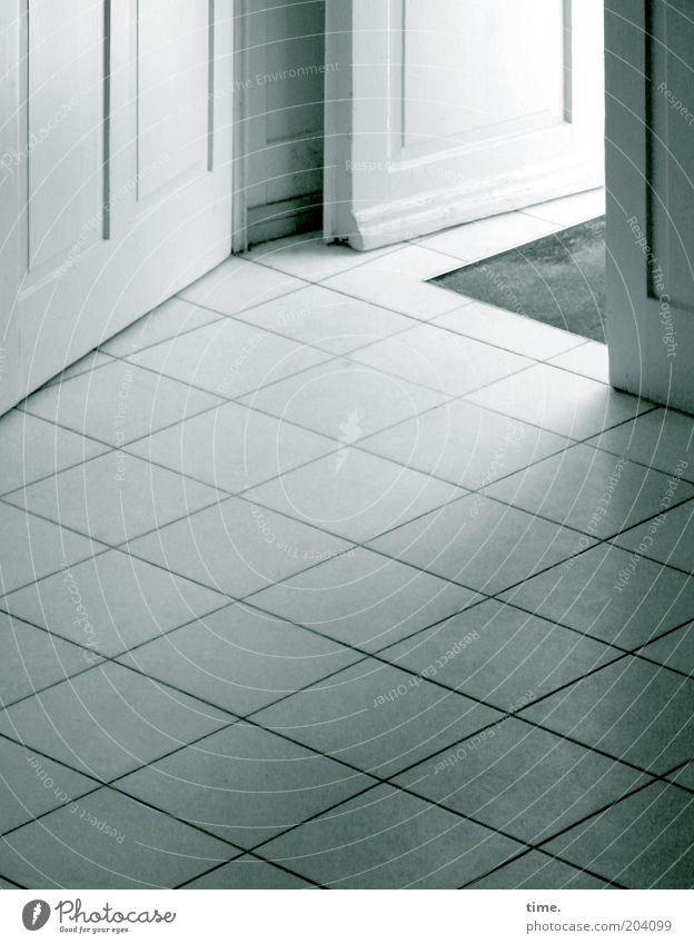 White Bright Door Corner Open Ground Clean Tile Entrance Hallway Way out Seam Floor mat Wing of a door