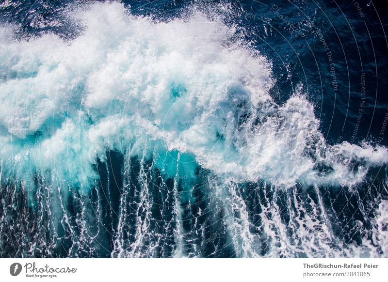 waves Nature Water Drops of water Blue Turquoise White Waves Ocean White crest Wet Inject Navigation Bird's-eye view Cold Exterior shot Deserted Copy Space left