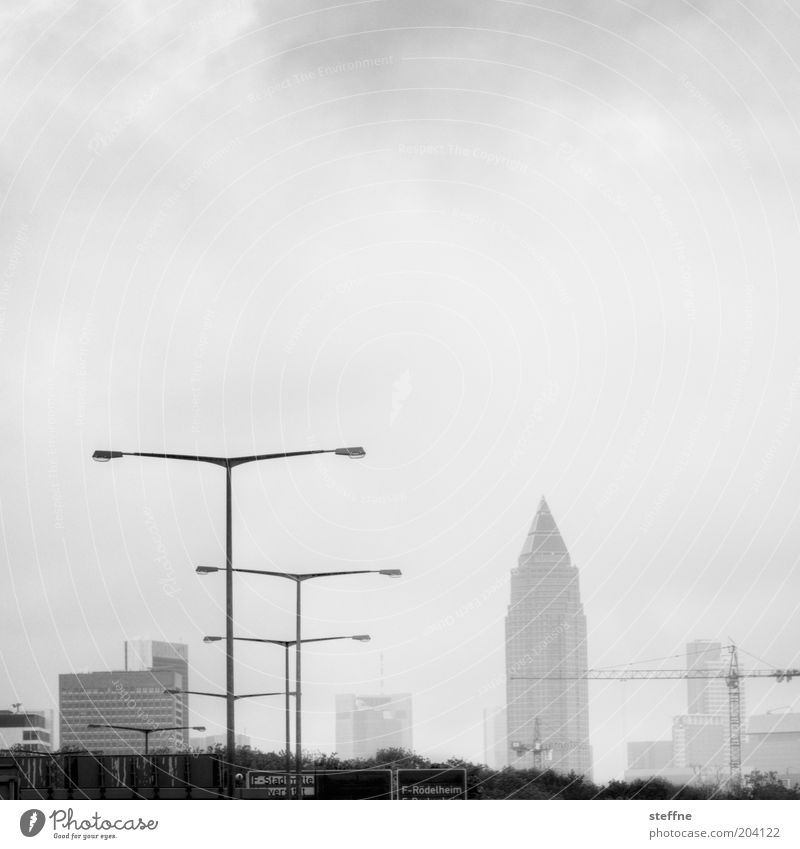 Messeturm for Lurpi Frankfurt Town Skyline High-rise Exebition centre Street Highway Financial Industry Trade Lantern Crane Future Black & white photo
