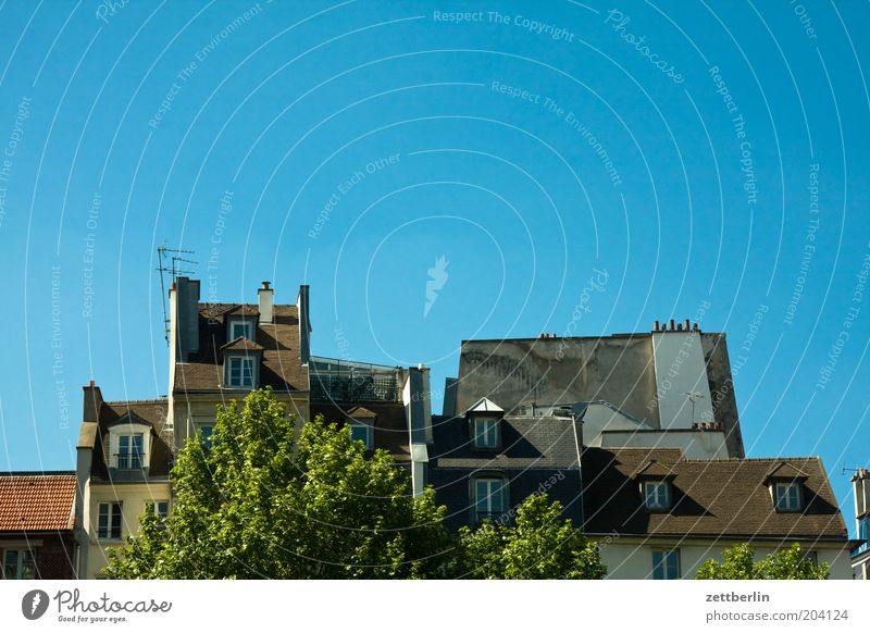 Roofs, Montmartre Paris House (Residential Structure) Attic story Architecture Cloudless sky Blue sky Neutral Background Copy Space top Skylight Chimney