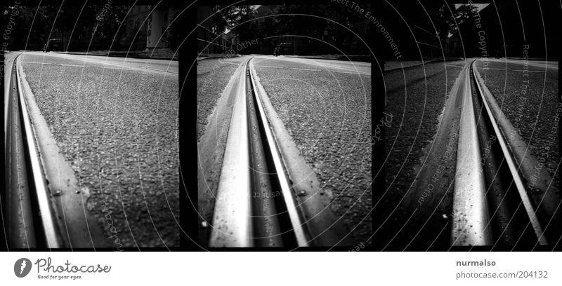 Street Dark Photography Art Environment Transport Film Technology Analog Traffic infrastructure Symmetry Tram Tar Means of transport Rail transport Railroad system