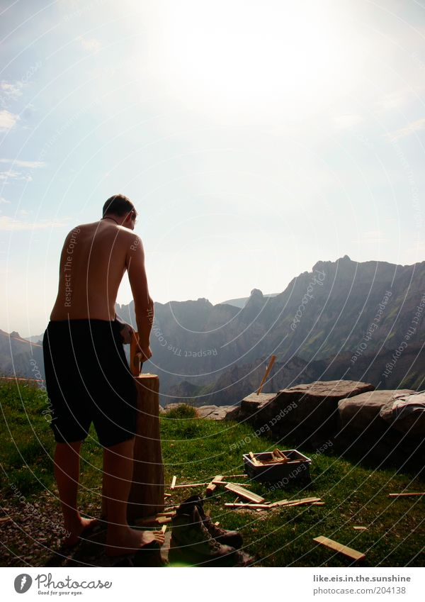 Sun Summer Calm Adults Far-off places Relaxation Freedom Mountain Grass Work and employment Power Rock Masculine Adventure Alps 18 - 30 years