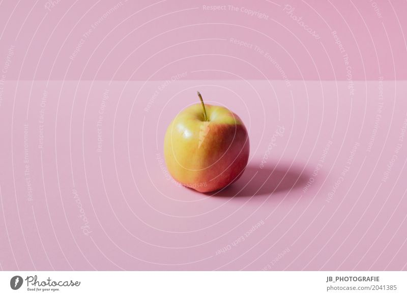 Healthy nutrition - Apple enjoyment Food Fruit Nutrition Eating Breakfast Thanksgiving Art Authentic Fresh Glittering Round Juicy Yellow Pink Red Contentment