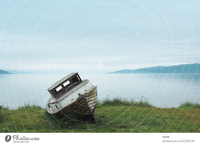 Sky Vacation & Travel Blue Old Green Water Ocean Loneliness Calm Meadow Emotions Grass Coast Freedom Lake Watercraft