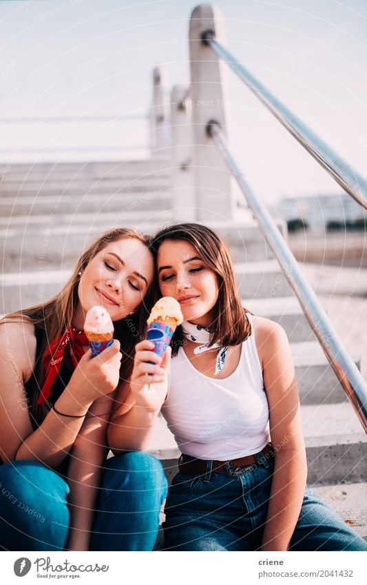 Teenager best friends eating ice cream together Dessert Ice cream Candy Eating Lifestyle Joy Vacation & Travel Summer Summer vacation Sun Human being Feminine