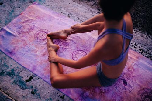Young caucasian woman meditating on yoga mat outdoor Human being Woman Youth (Young adults) Young woman Summer Relaxation 18 - 30 years Adults Lifestyle Healthy