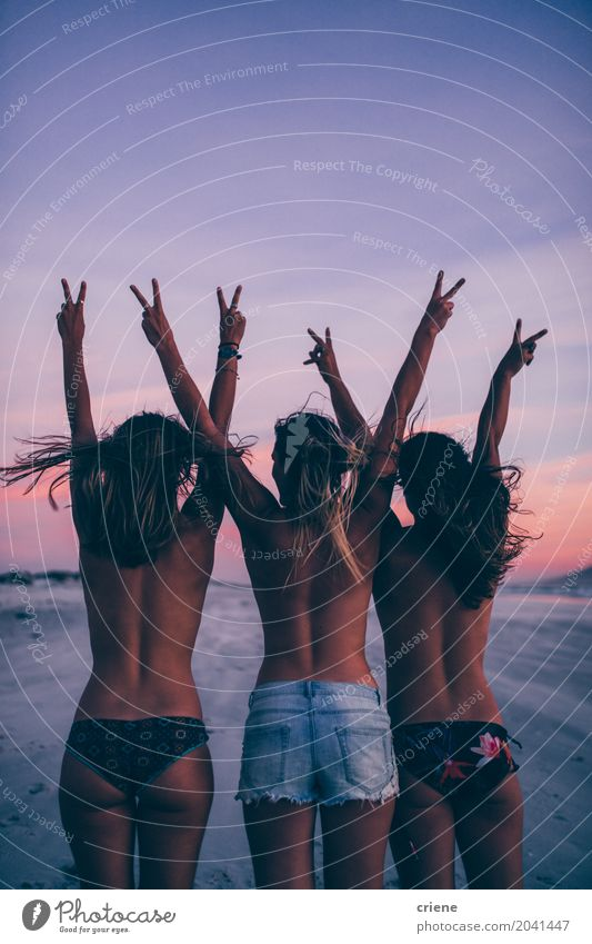 Group of women cheering on the beach topless Lifestyle Joy Happy Vacation & Travel Freedom Summer Beach Feminine Young woman Youth (Young adults) Woman Adults