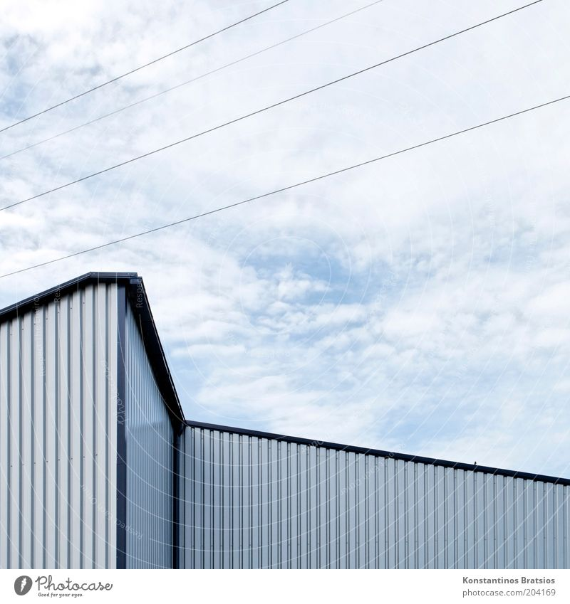 one bird, zigzag and diagonal Sky Clouds Building Hall Storage Industrial construction Facade Cladding Sharp-edged Simple Blue Gray Silver