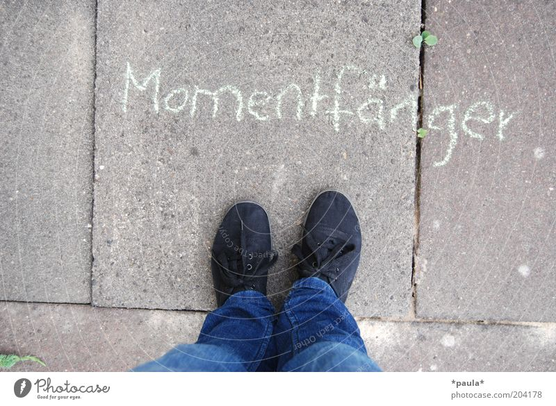 catcher of moments Legs Feet 1 Human being Jeans Footwear Stand Simple Natural Blue Gray Black Contentment Joie de vivre (Vitality) Identity Stagnating