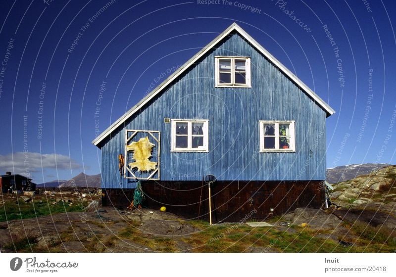Blue House Greenland Wooden house Pelt The Arctic Europe Sky